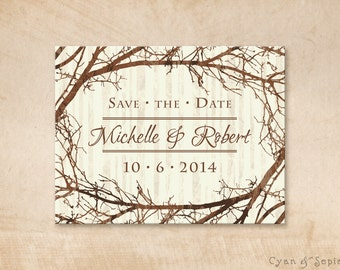 Tree and Branches - Wedding Save the Date Design - 4x5 Postcard - Rustic Nature Woodland Twigs Vintage - Brown Tan Sepia Ivory Cream