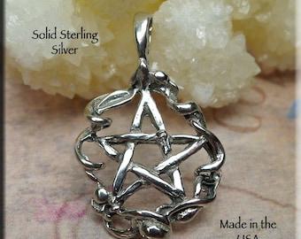 Ribbon Pentacle Pendant, Sterling Silver Pentagram with Ribbon Surround, .925 Pentagram Pendant, Wiccan-Pagan Jewelry - SE-1534
