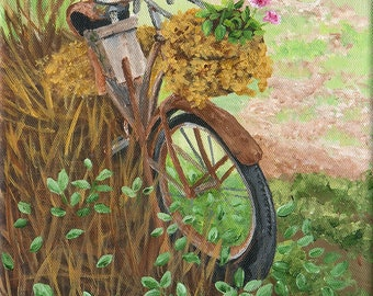 """Forgotten, Abandoned Bicycle, Fine Art Giclee, Home Decor, 8"""" x 10"""""""