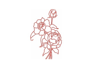 Peonies  redwork embroidery design