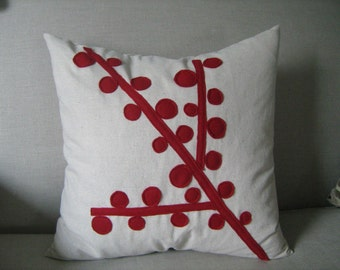 Red Berry Branch Pillow Cover