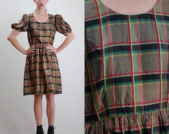 Vintage Dress / Vintage 60s Dress / Dolly Dress / Gold Dress / Plaid Dress / Holiday Dress / Party Dress / Mod Dress / Small Medium