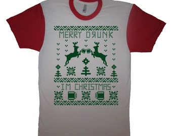 mens merry drunk i'm christmas t shirt funny holiday beer drinking ugly xmas sweater design mens reindeer beer graphic tee top secret santa