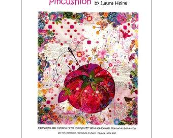 Fiberworks Laura Heine Collage Tomato Pin Cushion Quilt Pattern 41 x 45