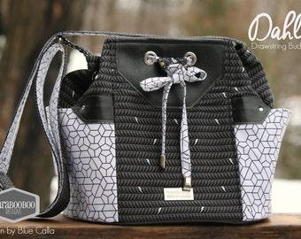 Dahlia Drawstring Bucket Bag in Libs Elliott True Love fabrics Black, white, silver,  Tote, Blue Calla pattern