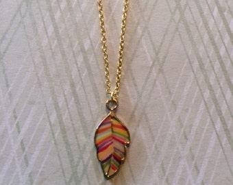 Leaf Necklace - Leaf Necklace Gold - Leaf Jewelry - Leaf Pendant - Leaf Pendant Necklace - Multi Color Necklace - Colorful Necklace - Gift