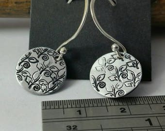 Leaf Stamped Earrings - Hand Stamped Disk Earrings - One of a Kind