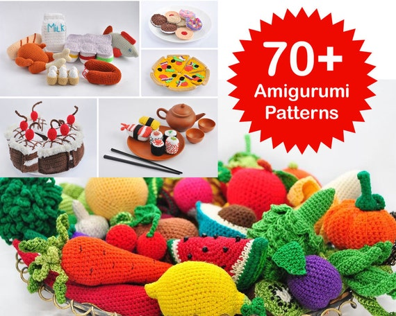 Amigurumi Crochet Books : Amigurumi pattern. 70 crochet play food patterns. crochet toy