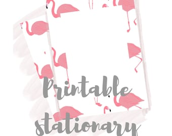 Flamingo Stationary | Printable Stationary Paper | A4 | Patterned Paper