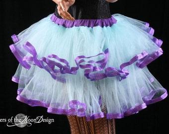 Adult tutu skirt Fairy little ruffles costume dance bridal wedding prom race run aqua purple -- You Choose Size -- Sisters of the Moon