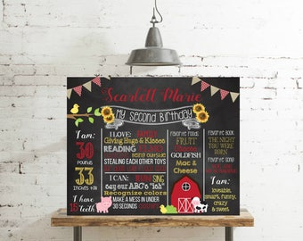 Farm Barnyard First Second Birthday Chalkboard Shabby Chic Farm Sunflower gingham burlap Poster Sign Birthday PrintablePhoto Prop, #2068