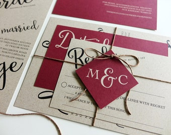 Rustic Wedding Invitation, Red Burgandy Kraft Paper, Twine and Tag, Invitation Set, Modern Script Wedding Red Berry, Printable DIY, Monogram