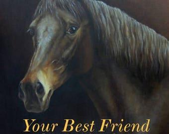 Custom HORSE PORTRAIT Large size Original Oil PAINTING on canvas Animal Art from photos Horse memorial Equestrian Fine Art Deposite 50%