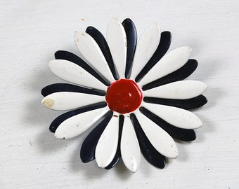 Vintage Navy, White and Red Enamel Flower Brooch