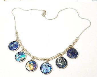 Spring Sale Stunning One Of A Kind  925 Silver Hand Made colorful Roman Glass Necklace