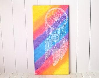 Rainbow Dreamcatcher - Bohemian home Decor - Rainbow Gift - Rainbow Wedding - Rainbow Art - Rainbow Painting - Rainbow Wall Art