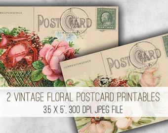 Vintage Floral Postcards Digital Collage Sheet Download - 1016 - Digital Paper - Instant Download Printables
