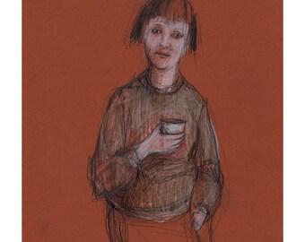 SALE drawing Woman Coffee original art portrait illustration people figurative ooak standing