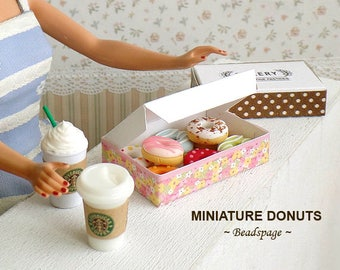 Miniature Donuts for 1:6 scale BJD Barbie Blythe Dollhouse - Playscale Dolls Fake food Pastry Patisserie DIY Craft Food Jewelry