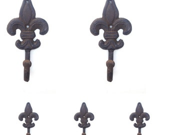 5 Fleur De Lis Wall Hooks Towel Hook Key Hook Victorian Home Decor Rustic Iron