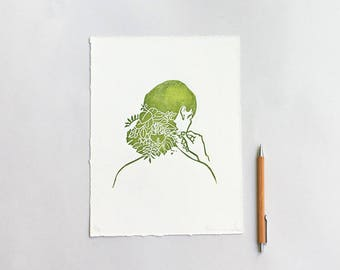 Green Hair Print, Girl Art, Plants Art Print, Ecology Art Handprinted, Leaf on Hair Illustration, Girl Linoprint