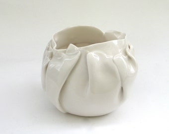 hand built porcelain  balloon bowl   ...   translucent