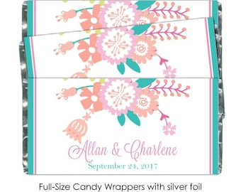 Pastel Floral Bridal Shower Candy Wrappers, Pink and Teal Floral Wedding Candy Wrappers - fit over 1.55 oz chocolate bars, 50 count