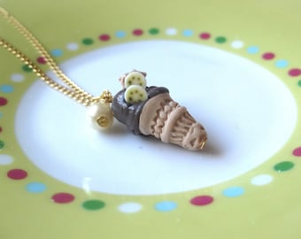 Food Necklace Ice Cream Pendant ( ice cream necklace banana necklace polymer clay food miniature food mini food jewelry food jewelry )