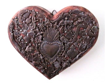 Milagros Heart, Mexican Milagro Charms, Ex Voto Sacred Heart, Carved Wood Heart