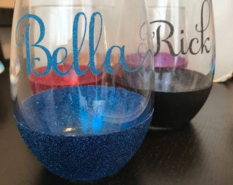 Customized Glitter Stemless Wine Glasses with names or Initials - your choice of color