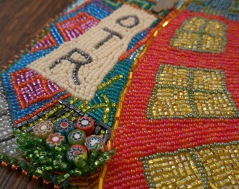 Over-the-Rhine Bead Painting .. bead embroidered art