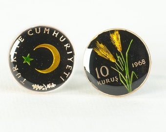 Cufflinks Turkey enamel Coin