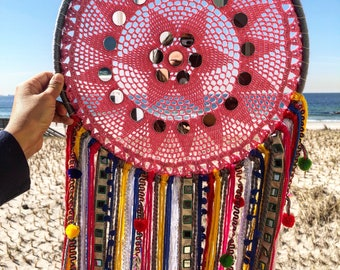Large Dreamcatcher - pink, yellow, mirrored, pom poms (14in)
