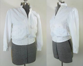 Members Only White Bomber Jacket Women's 1970s Europe Craft