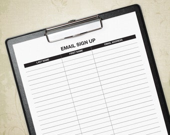 Email Sign Up Printable Form, Generic E-mail Sign Up Tracker, Email List, Email Chart, Email Log, E-mail, Digital File, Instant Download