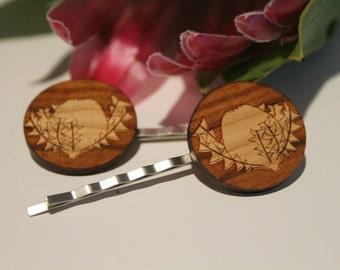 Decorative Bobby Pins-Australian Bobby Pins-Hair Accessory-Hair Pin-Australian Wildflowers-Baxters Banksia-Wood Lasercut