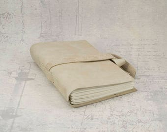 Cream beige leather journal sketchbook, unique notebook A6 travel journal