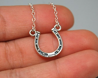 Horse shoe necklace -equestrian necklace, lucky horse shoe necklace, sterling silver necklace