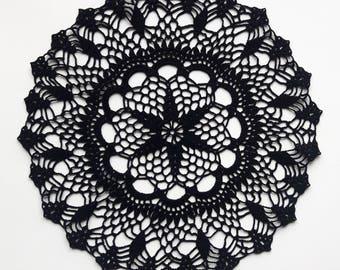 Black handmade doily No.68, 26 cm / 10.2 inch in diameter