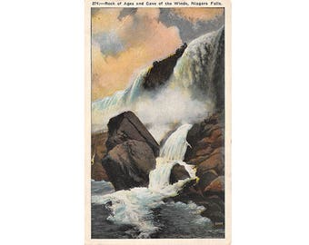 Niagara Falls New York vintage postcard   Rock of Ages, Cave of the Winds, Bridal Veil Falls   1920s NY travel decor, waterfall, home state