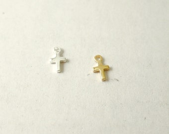 ADD on extra tiny cross charm to your necklace or bracelet - silver or gold