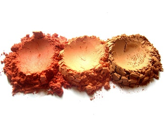 3pc WARM SUNSET Mineral Makeup Blush Collection Pure Natural Vegan Minerals | #Xmasinjuly