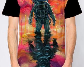 """Spaceman Tee - Space T-shirt - Surreal Art - Wearable Art - """"Spaceman Spliff"""" design by Black Ink Art SKU 1001"""