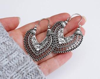 Bali Style Tribal Ethnic Boho Hoop Drop Earrings Festival Jewellery