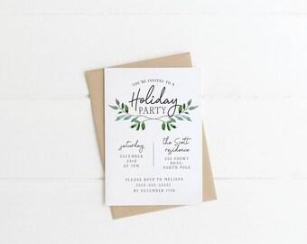 Christmas Party Invitation - Personalized Holiday Invitation, Digital Download, Custom Holiday Invitation, Greenery Seasonal Card