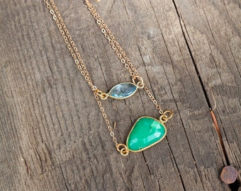 14K Gold Filled Chalcedony Pendant Necklace