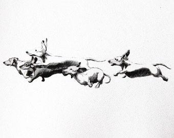 Running Dachshunds Print - 11 X 17