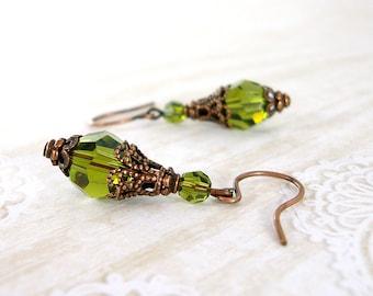 Olivine Swarovski Crystal Copper Earrrings - Antiqued Copper - Rustic Vintage Style Victorian Olive Green Tierracast Earrings Copper Jewelry