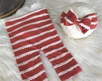 Newborn Pant and Headband Set, Gold, Gray, Burnt Orange, Pink and Cream Scallop Knit Leggings n Headband, Newborn Photography Prop, Headband