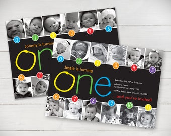 Rainbow Timeline 1st Birthday Invitation (With or Without Purple) - Digital File